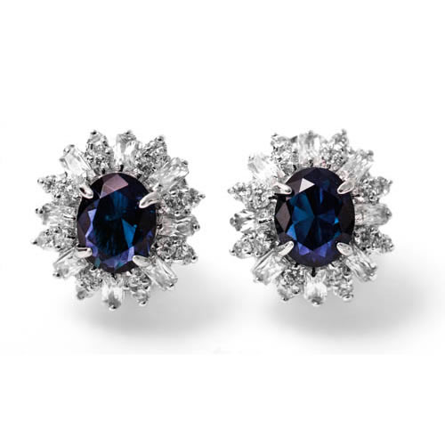 Lady Baguette Omega Earring rhodium plated and blue zirconia. Antiallergic.