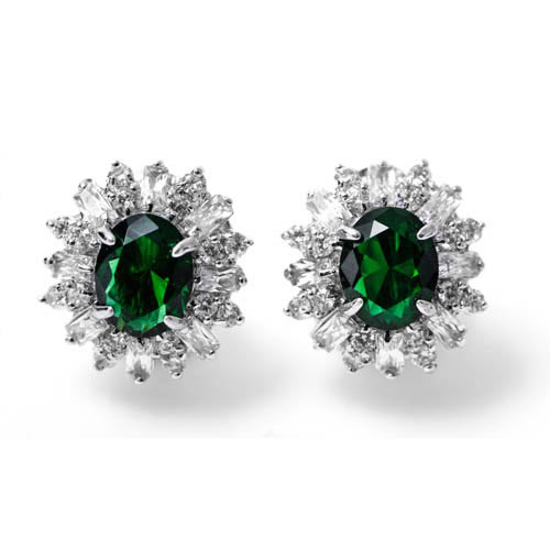 Lady Baguette Omega Earring rhodium plated and green zirconia. Antiallergic.
