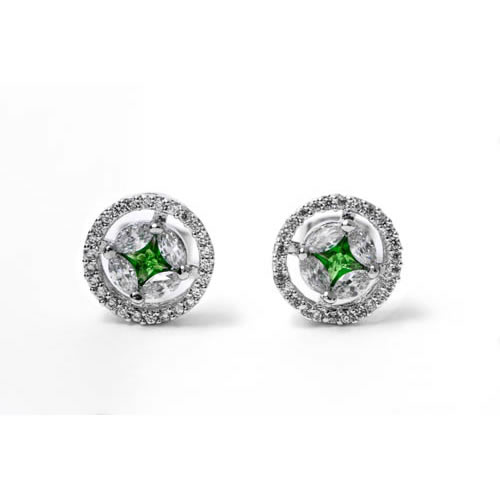 Maria Earring rhodium and green zirconia. Antiallergic