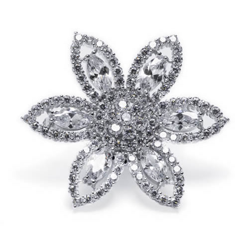 Swaroski Inspired Brooch white rhodium plated in the shape of a flower