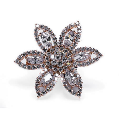 Image of the Swaroski Inspired Brooch rose gold plated in the shape of a flower.