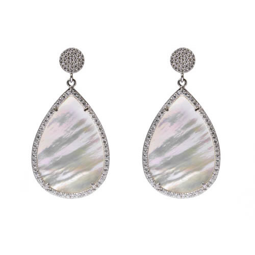 Teardrop Earring 3,5 rhodium plated silver, mother of pearl and white zirconia. Antiallergic