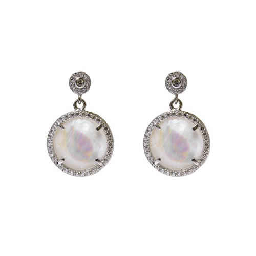 Round Hanging Earring rhodium plated silver, mother of pearl and pave, 20mm diameter. Antiallergic