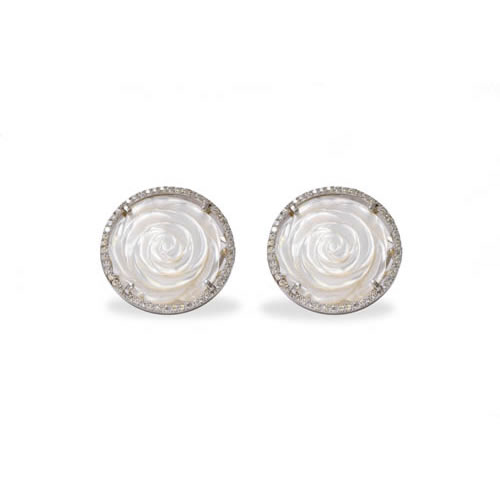 White Rose Earring rhodium plated silver with omega closure Antiallergic