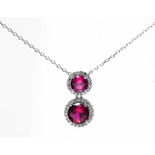 New Dehli pendant and chain rhodium plated with red zirconia. Antiallergic.