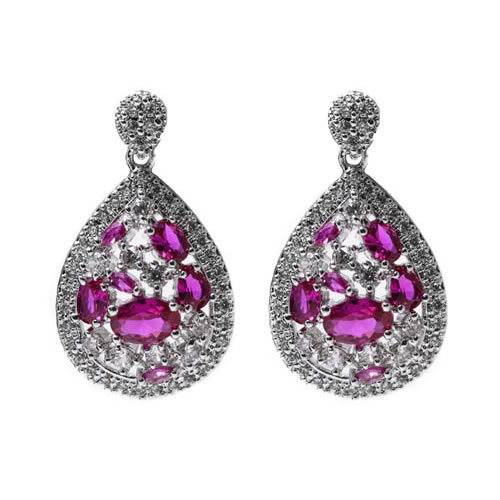 Irak Earring rhodium plated and pave, red zirconia. Antiallergic.