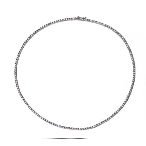 Necklace rhodium plated sterling silver with brilliant cut