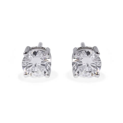 Stud Earring 4 claws white rhodium plated silver and white zirconia 8mm. Antiallergic