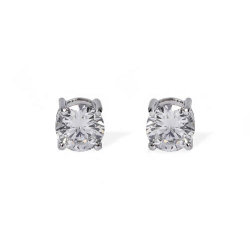 Stud Earring 4 claws white rhodium plated silver and white zirconia 6mm. Antiallergic