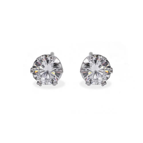 Stud Earring 6 claws white rhodium plated silver and white zirconia 8mm. Antiallergic
