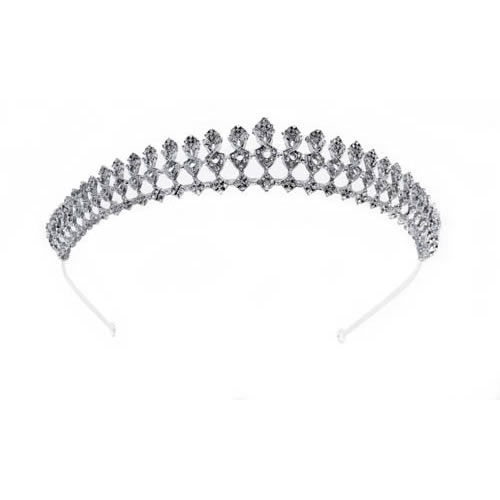 Alba Tiara silver plated and white crystal. Antiallergic