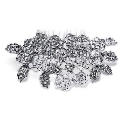 Berta Comb silver plated and white crystal. Antiallergic