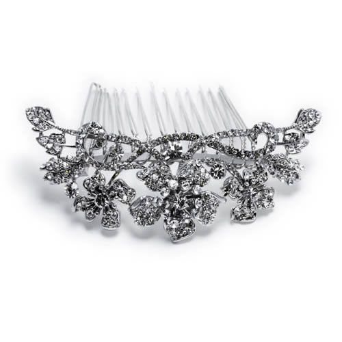 Begoña Comb silver plated and white crystal Antiallergic