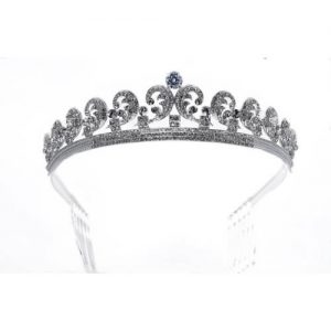 Imagen de la tiara Emperatriz plateda y cristal blanco