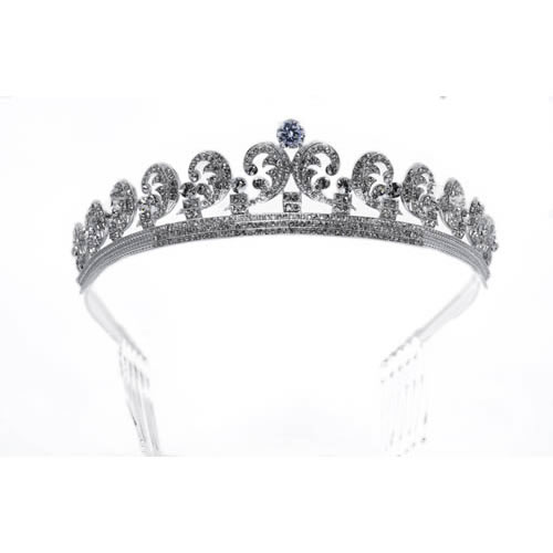 Empress Tiara silver plated and white crystal. Antiallergic