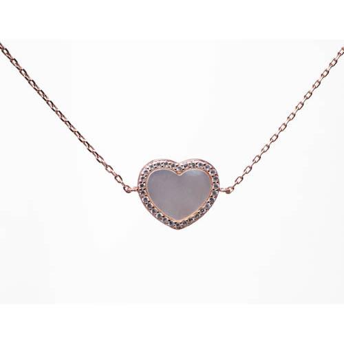 Imagen del corazón y cadena mediano, plata baño oro rosa
