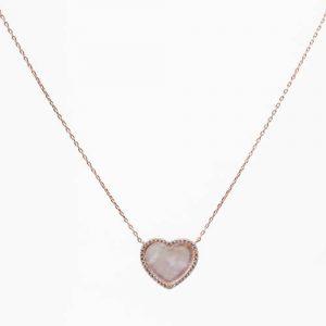 Imagen del colgante corazón y cadena mediano, plata baño oro rosa