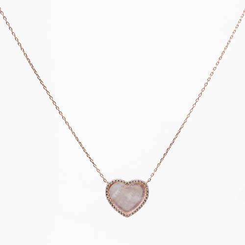 8ee69dd53198 Colgante Corazón con cadena. plata baño oro rosa. nácar y pavé ...