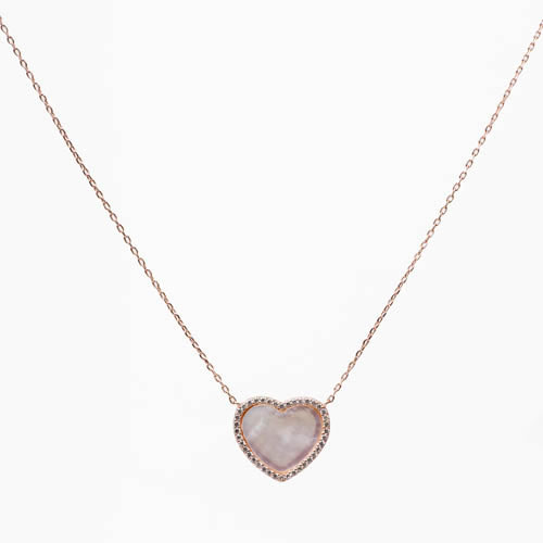 Heart Pendant and medium chain rhodium plated silver, mother of pearl and pave. Antiallergic