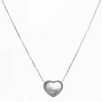 Imagen del colgante corazón y cadena mediano, plata rodiodo