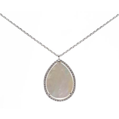 Teardrop Pendant and Chain rhodium plated silver, mother of pearl and pave. Antiallergic