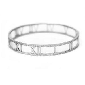 Brazalete inspiración Tiffany plata rodiada y pavé circonita blanca. Antialérgico.