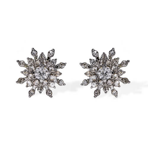 Openwork Flower Earring rhodium plated silver and white zirconia. Antiallergic