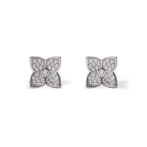Little Flower Earring rhodium plated silver and white zirconia. Antiallergic.
