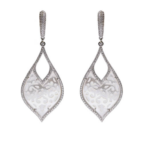 Bride Earring rhodium plated silver, mother of pearl and white zirconia. Antiallergic