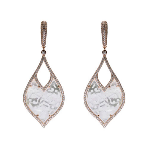 Bride Earring, rose gold plated silver, mother of pearl and white zirconia. Antiallergic