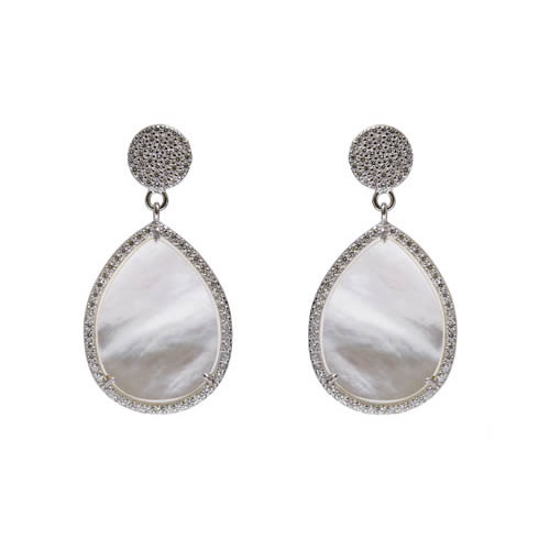 Teardrop Earring 2,5 rhodium plated silver, mother of pearl and white zirconia. Antiallergic