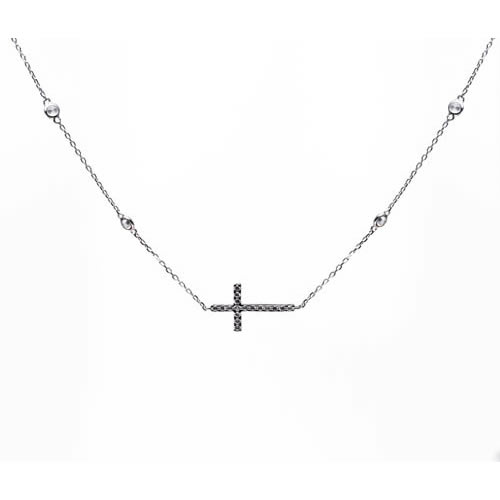 Cross Pendant rhodium plated silver and white zirconia. Antiallergic.