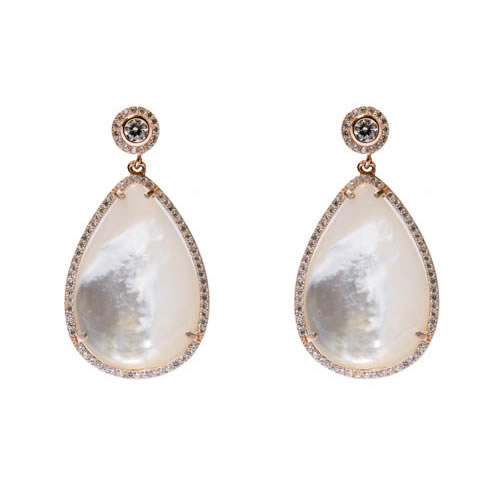 Teardrop Earring 3.5 rose gold plated silver, mother of pearl and white zirconia.