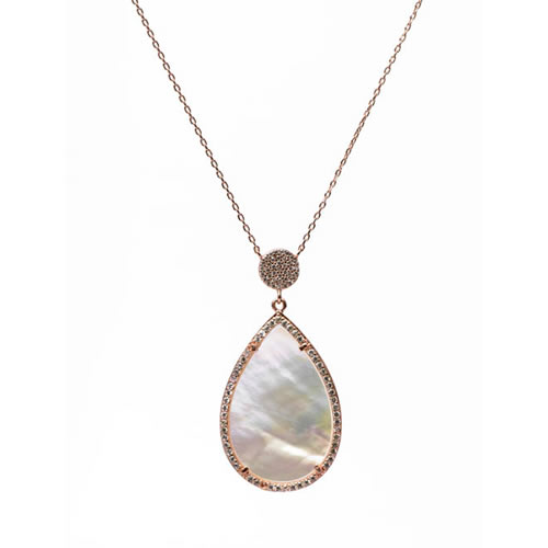 Teardrop Pendant and Chain rose gold plated silver, mother of pearl and pave. Antiallergic