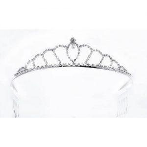 Tiara Princesa plateada y cristal blanco.