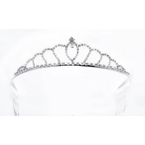 Princess Tiara silver plated and white crystal. Antiallergic