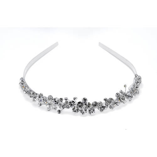 Little Flower Tiara silver plated and white glass
