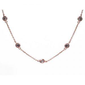 Collar inspiración Tiffany Sprinkel, plata baño oro rosa y circonita blanca