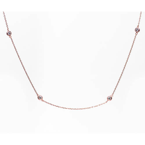 Image of the Tiffany Inspired Sprinkel Necklace rose gold plated and white zirconia, 95 cm. Antiallergic