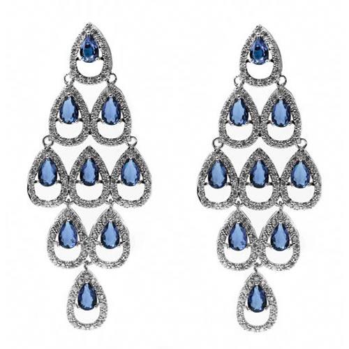 Casablanca Earring rhodium plated and blue zirconia. Antiallergic.