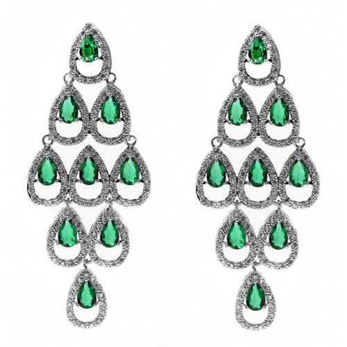 Chandelier Earring rhodium and green zirconia. Antiallergic.