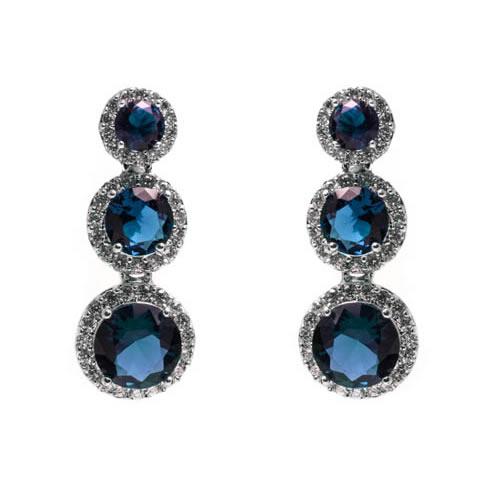 Triple Decreasing Orla Earring rhodium and blue zirconia. Antiallergic