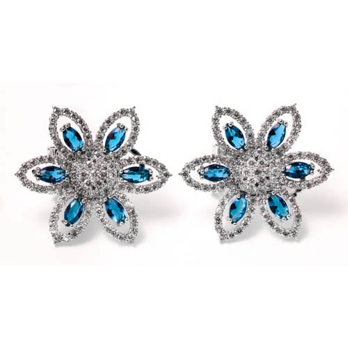 Daisy Flower Earring rhodium and blue zirconia. Antiallergic